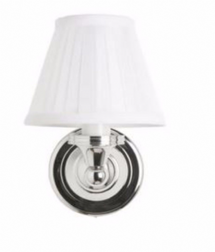 Burlington Round Light With Chrome Base & Fine Pleated Shade In White Bl12